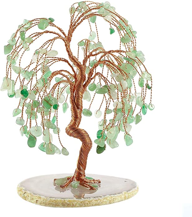 "Jovivi Natural Healing Crystals Green Aventurine Tree Tumbled Gemstone Stones Money Tree, Geode Agate Slices Base Feng Shui Ornaments Home Decoration for Wealth and Luck 5.5""-6.3"""