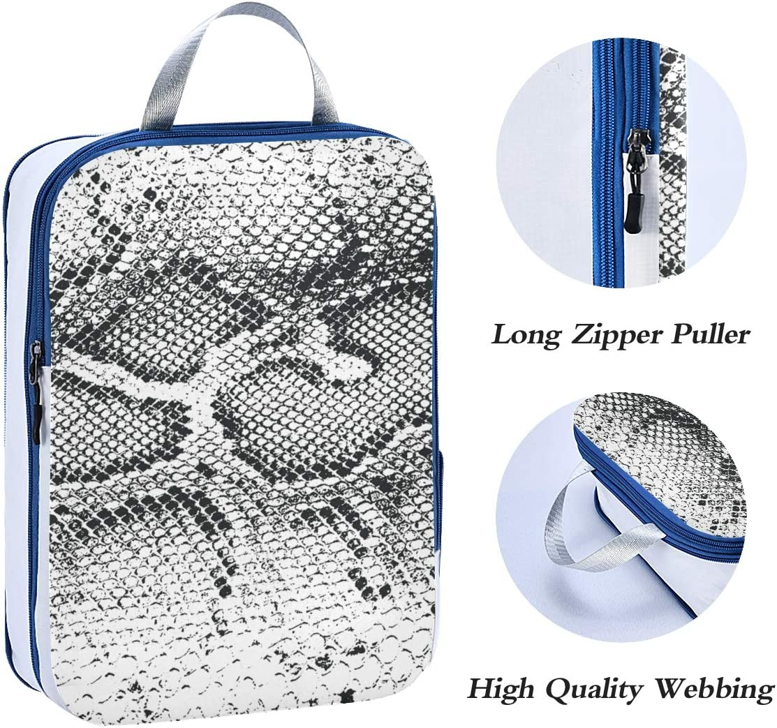 ATONO Crocodile Or Snake Skin Leather Grunge Style Travel Packing Cubes Luggage Organizer Bags Storage 3 Pack Sets Toiletries Shoe Bag for Business Trip Holiday Kids/&Adults