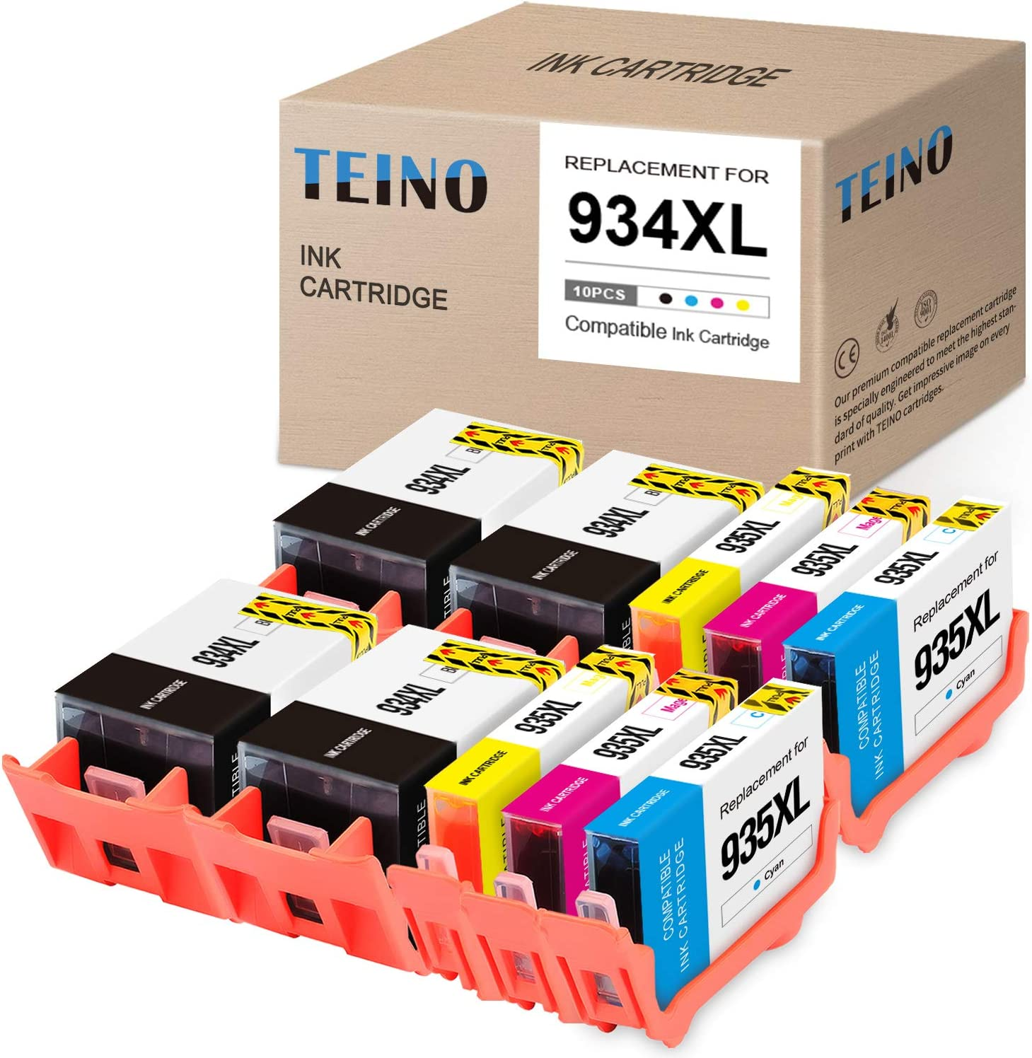 TEINO Compatible Ink Cartridges Replacement for HP 934 935 XL 934XL 935XL use with HP OfficeJet Pro 6830 6230 6835 6812 6815 6220 6810 6820 (Black, Cyan, Magenta, Yellow, 10-Pack)