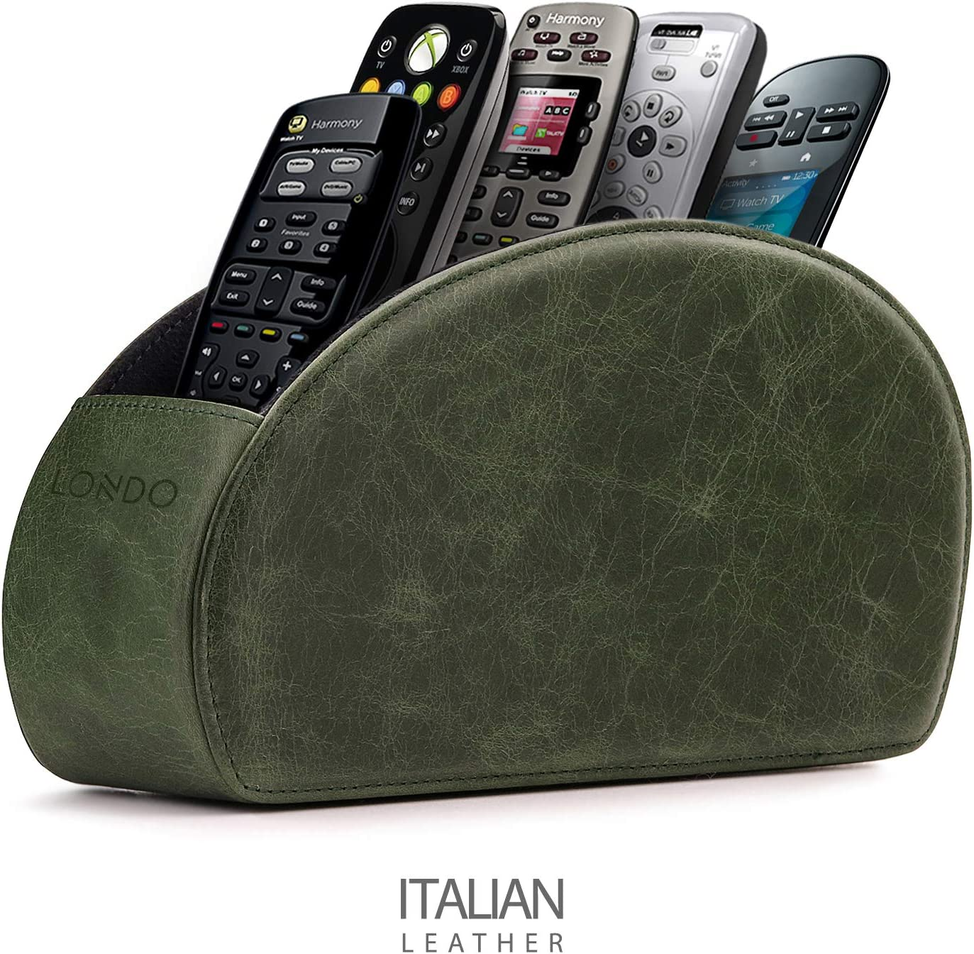 Londo Remote Controller Holder Organizer Store DVD Blu-ray TV Roku or Apple TV Remotes - Italian Genuine Leather with Suede Lining Living or Bedroom Storage – Green