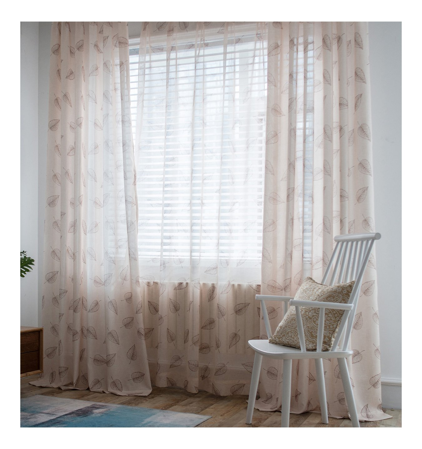 ASide BSide Sawtooth Leaf Printed Rod Pockets Pure Type Sheer Curtains Home Treatment Voile Panels For Houseroom Kitchen and Child Room (1 Panel, W 52 x L 63 inch, Light coffee)