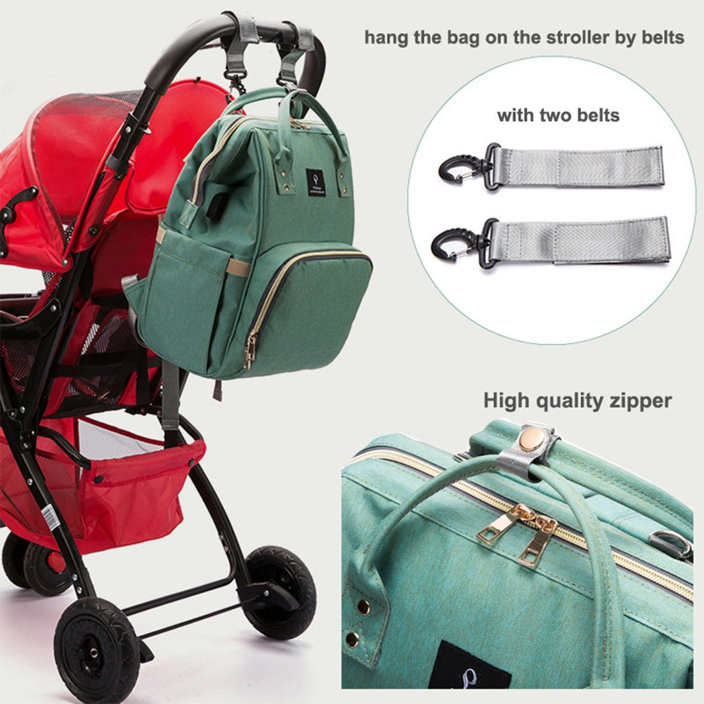 Insulated Pockets YIMOJI Multi-Function Waterproof Baby Diaper Bag Mom and Dad Travel Backpack Nappy Bag with Stroller Straps Green Nappy Changing Backpack with USB Charging Port