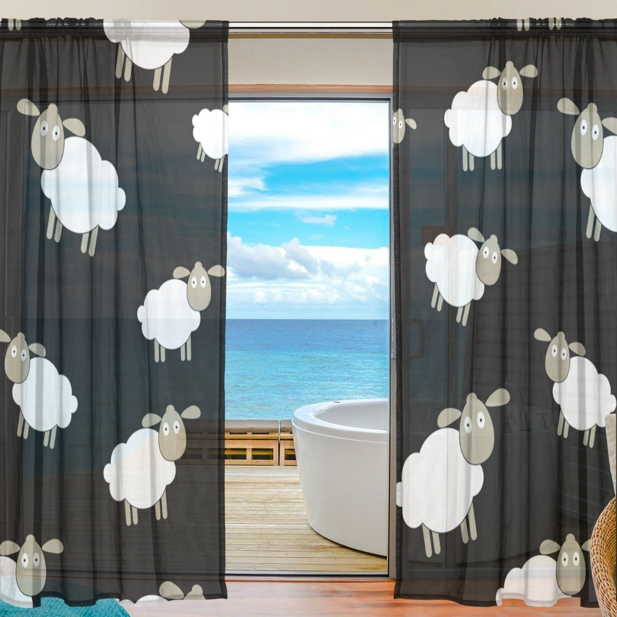 SEULIFE Window Sheer Curtain, Abstract Animal Lamb Sheep Pattern Voile Curtain Drapes for Door Kitchen Living Room Bedroom 55x78 inches 2 Panels