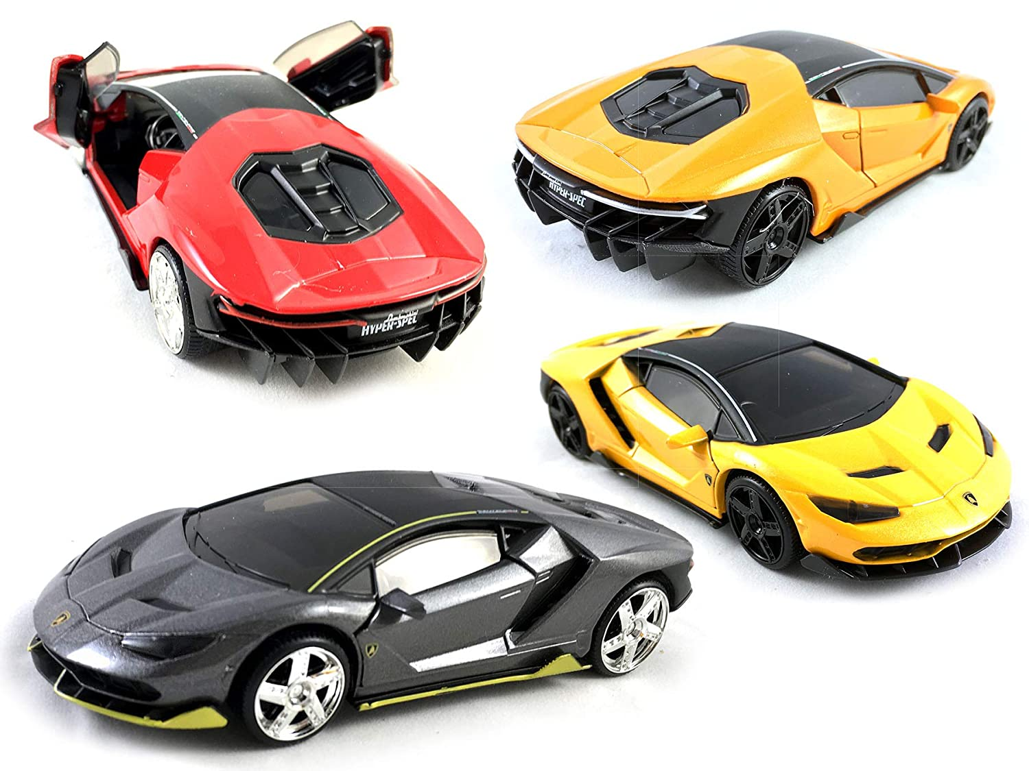 HCK Set of 4 2017 Lambo Centenario , Pull Back Toy Cars 132 Scale (Red,  Black, Orange, Yellow)