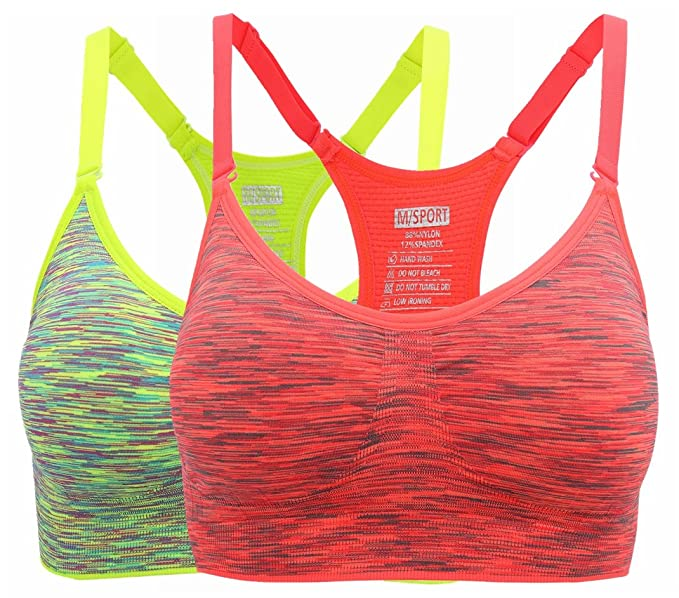 7f209ff680c9d HENNY RUE Women s Comfort Sports Bra Low Support Workout Yoga Bras Pack of  ...