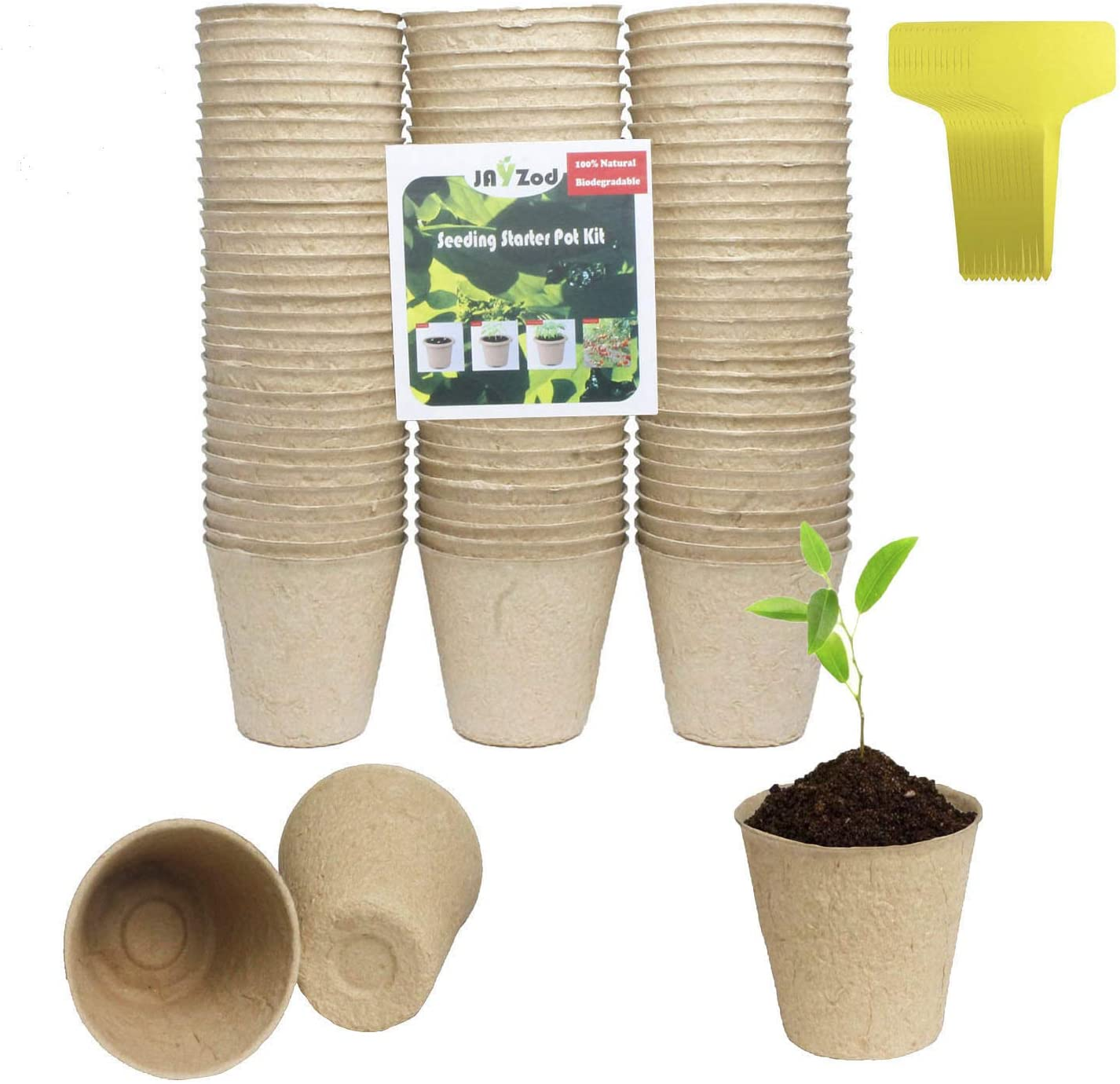 120 Pack 3 Seed Starter Pots Peat Pots Biodegradable Plant Starter Pots for Seedling Planter Nursery Pots with 20pcs Plant Markers