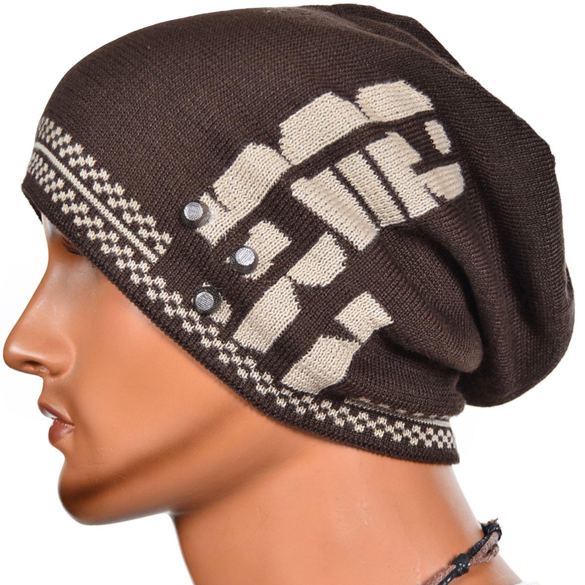 80c7e64deba63 ZS s Mens Triple Beanie Rivet Baggy Skull Cap Winter Hat Brown  Amazon.in   Clothing   Accessories
