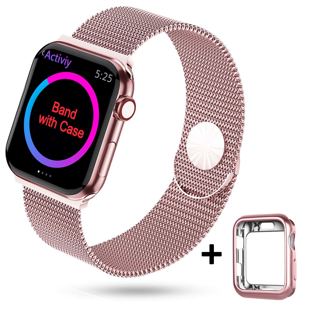 HONEJEEN Compatible with Apple Watch Band 38mm 40mm 42mm 44mm,Stainless Steel Mesh Loop Replacement Parts for iWatch Band Series 4 3 2 1 by HONEJEEN