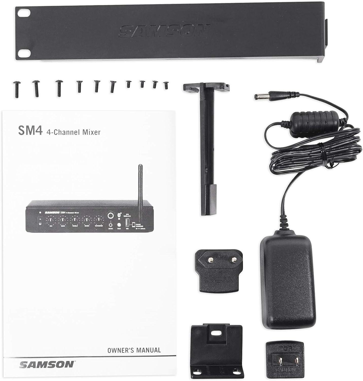 Samson SM4 4 Bluetooth Mixer Wireless Mic Receiver w//USB For Restaurant//Bar//Cafe