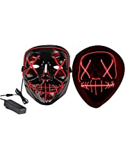 VSONG Halloween Mask LED Light up Mask Safe EL Wire/3 Modes Glowing Creepy Mask for Halloween Costume Cosplay Festival Party