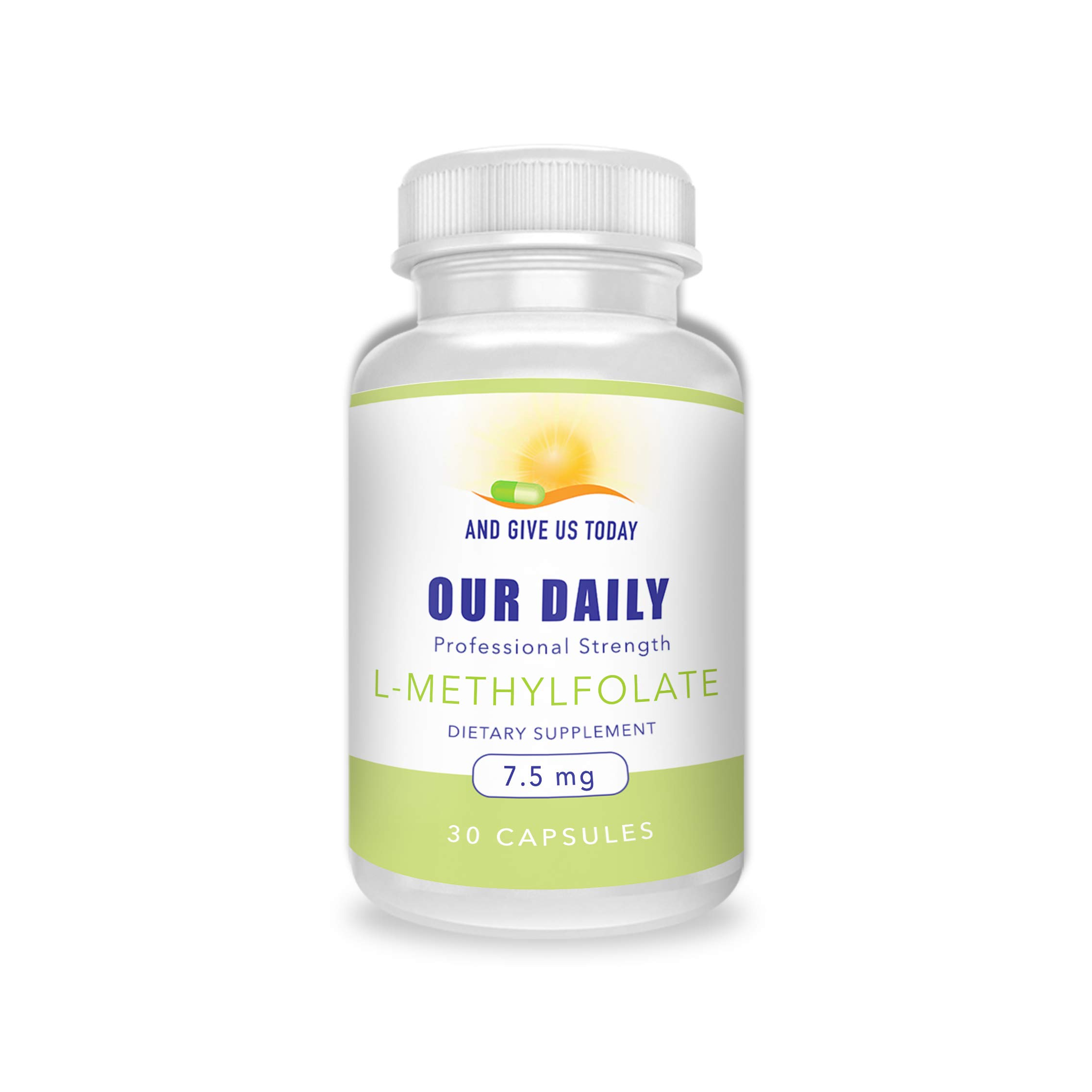 Our Daily Vites L-Methylfolate 7.5 mg / 7500 mcg Maximum Strength Active Folate, 5-MTHF, Filler Free, Gluten Free, Non-GMO, Vegetarian Capsules 30 Count (1 Month Supply)