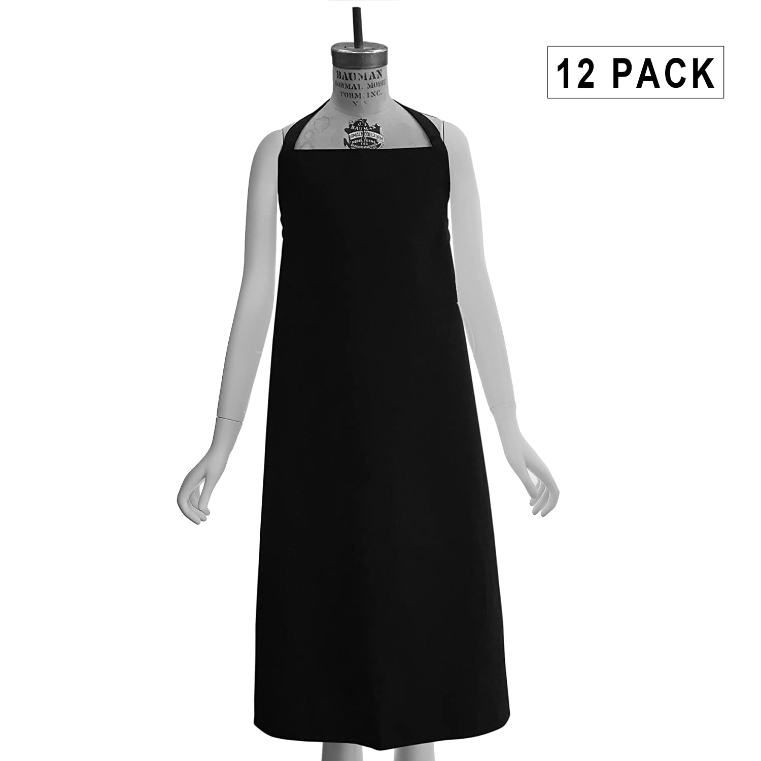 Chef Apron Black- One Dozen (12-Pack) Institutional Quality HomeTex