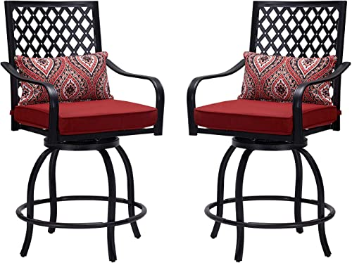 Vicllax Outdoor Swivel Bar Stools All-Weather Patio Extra Wide Counter Height Chairs