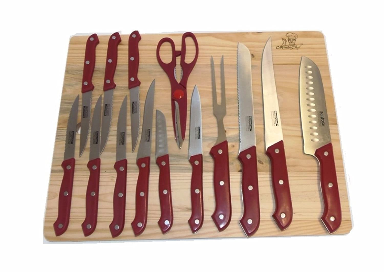 Amazon.com: Juego de cuchillo de cocina Masterchef rojo 15 ...