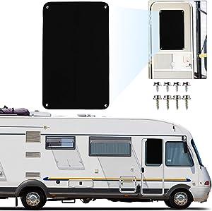 Rifachua Universal RV Door Window Shade Blackout Cover Shade 16 x 24.75 Inch Stretchy SBR Nylon Travel Trailer Motorhome Interior Sun Shade Accessories, UV Rays Protection, Blocks Out Sun, Black
