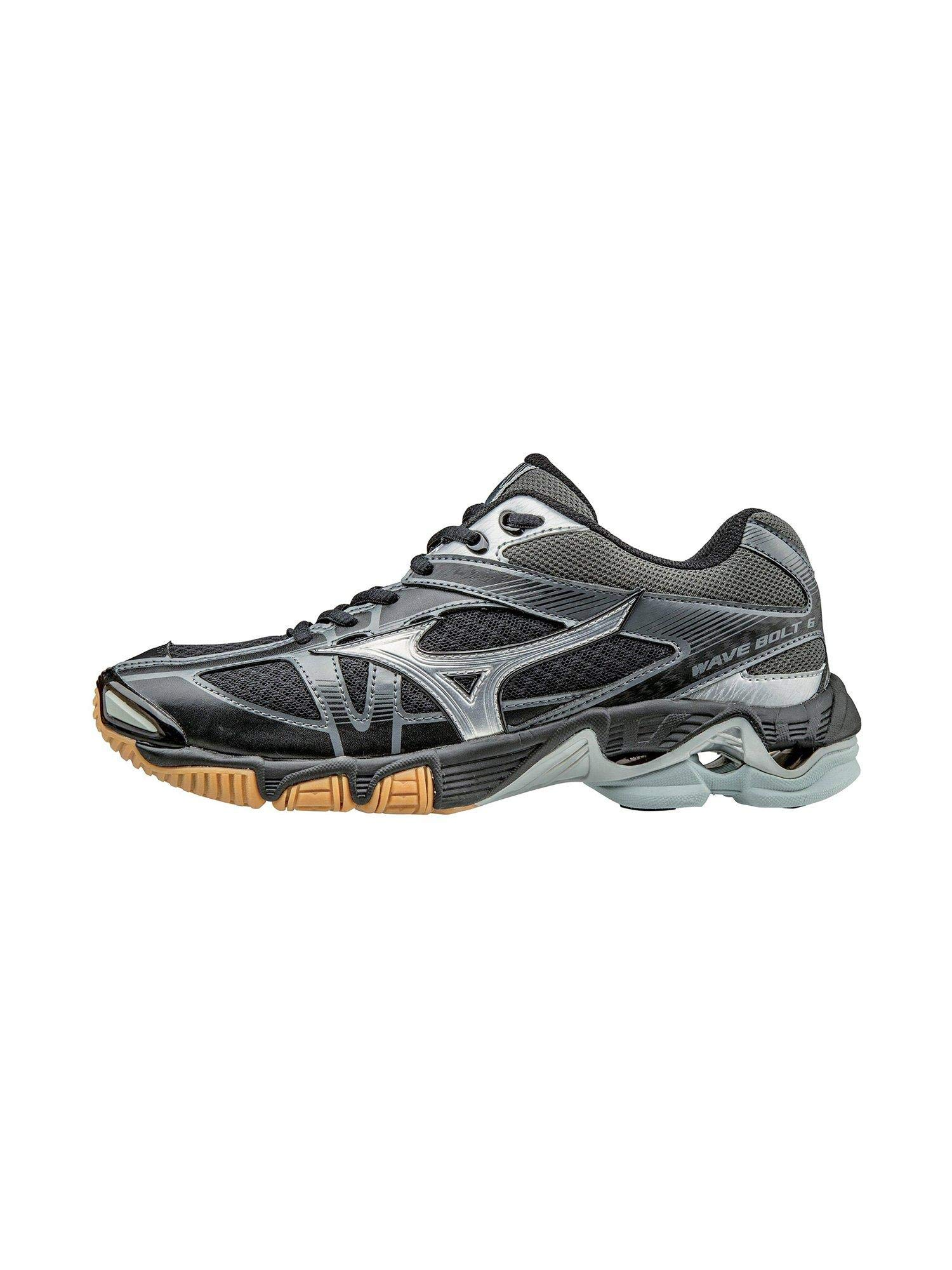 Mizuno Wave Bolt 6 Womens Volleyball Shoes, Black/Silver, 8 B US
