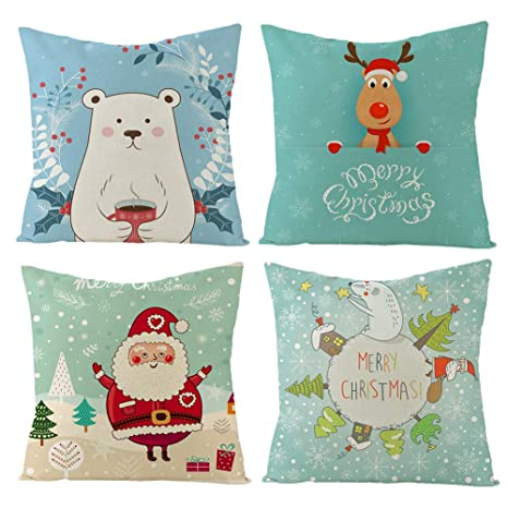Gspirit Navidad Cojines Sofas 4 Pack algodón Lino Funda Cojines Funda de Almohada para Cojín 45x45 cm(3)