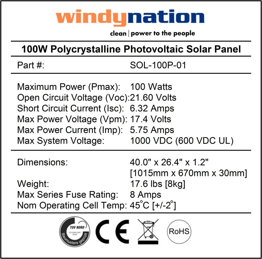 Windynation 100 Watt 100w Solar Panel For 12 Volt Cell Circuit Battery Charging Rv Boat Off Grid Garden Outdoor