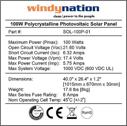 71xriBLy9eL._SX522_ amazon com windynation complete solar 100 watt panel kit 100w  at webbmarketing.co