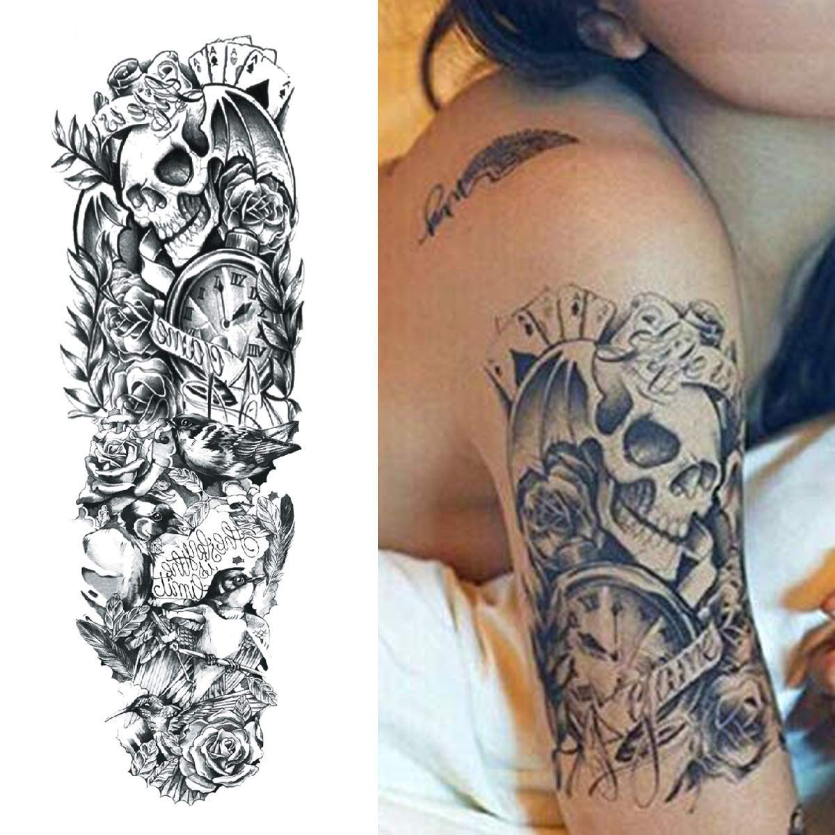 Amaza Tatuajes temporales para adultos hombre Mujer, Arte Corporal Brazos Completos tatuajes temporales, Brazo Tattoo Negros Tatuajes Adhesivos temporales ...