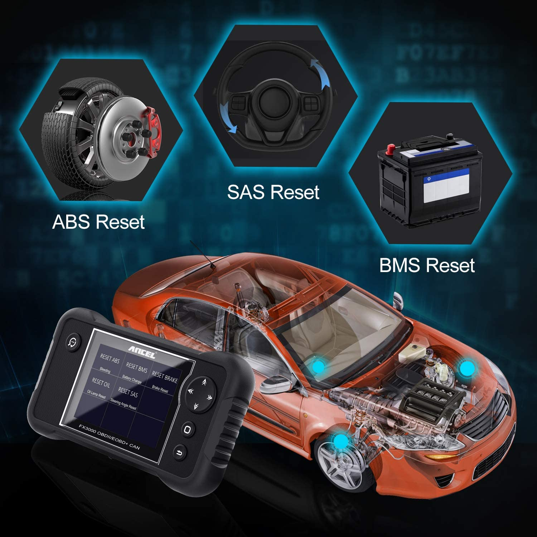 ANCEL FX3000 Automotive OBD2 Scanner Fahrzeugpr/üfung Motor Getriebe SRS ABS Codeleser Auto EPB /Öl Service Licht SAS ABS BMS Zur/ücksetzen Diagnose-Scan-Tool