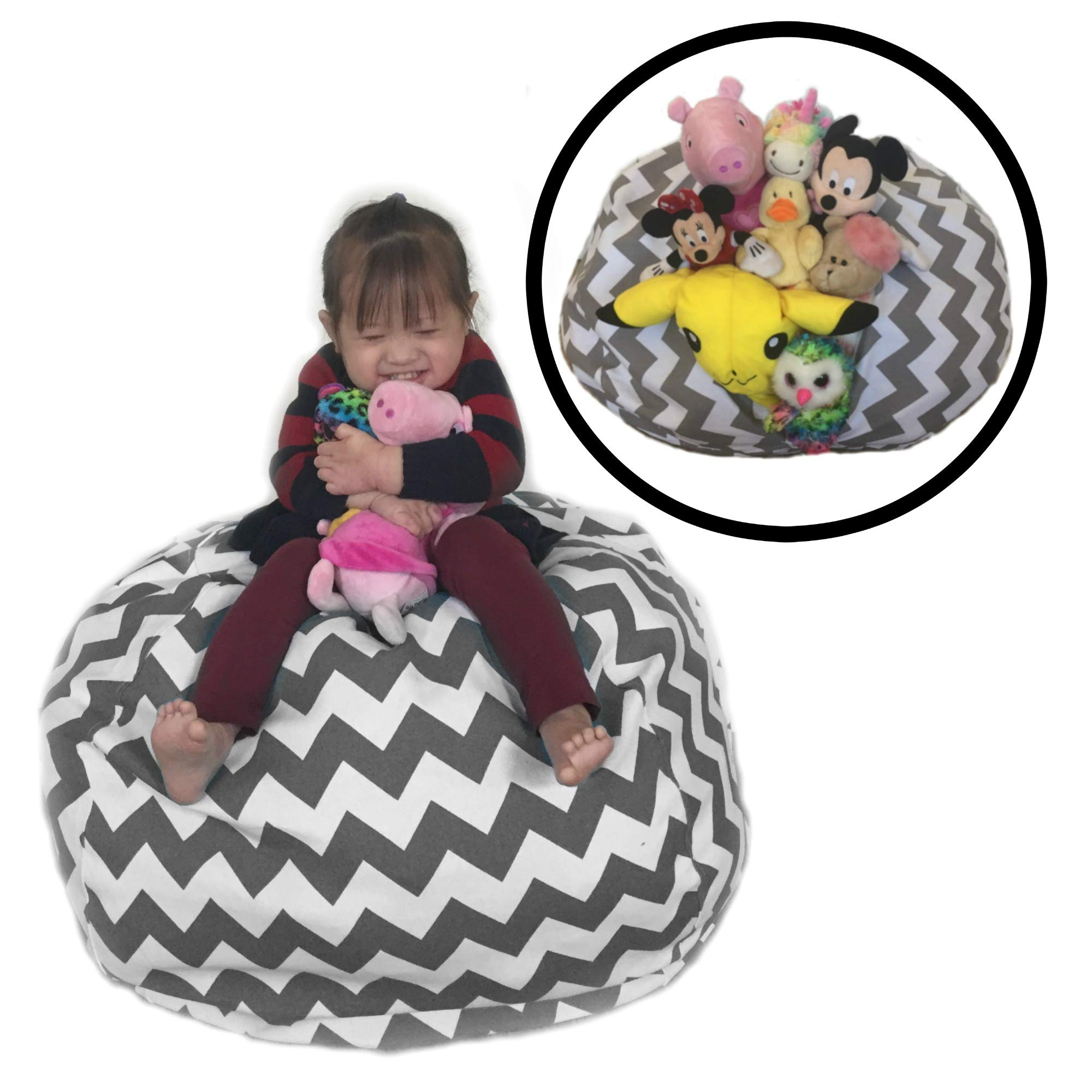 """Tidy 'N Comfy Stuffed Animal Storage Bean Bag Chair, EXTRA LARGE 38"""" GREY, GRAY Chevron Zigzag Print, Reinforced Seams, Stylish Storage for Soft Toys, Towels, Sweaters, Blankets. (Toys NOT included)"""