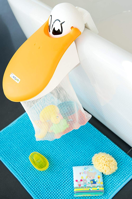KidsKit Bath Toy Organizer | Bath Toy Holder Featuring A Pelican with A Bath Toy Storage Net for Bath Toys