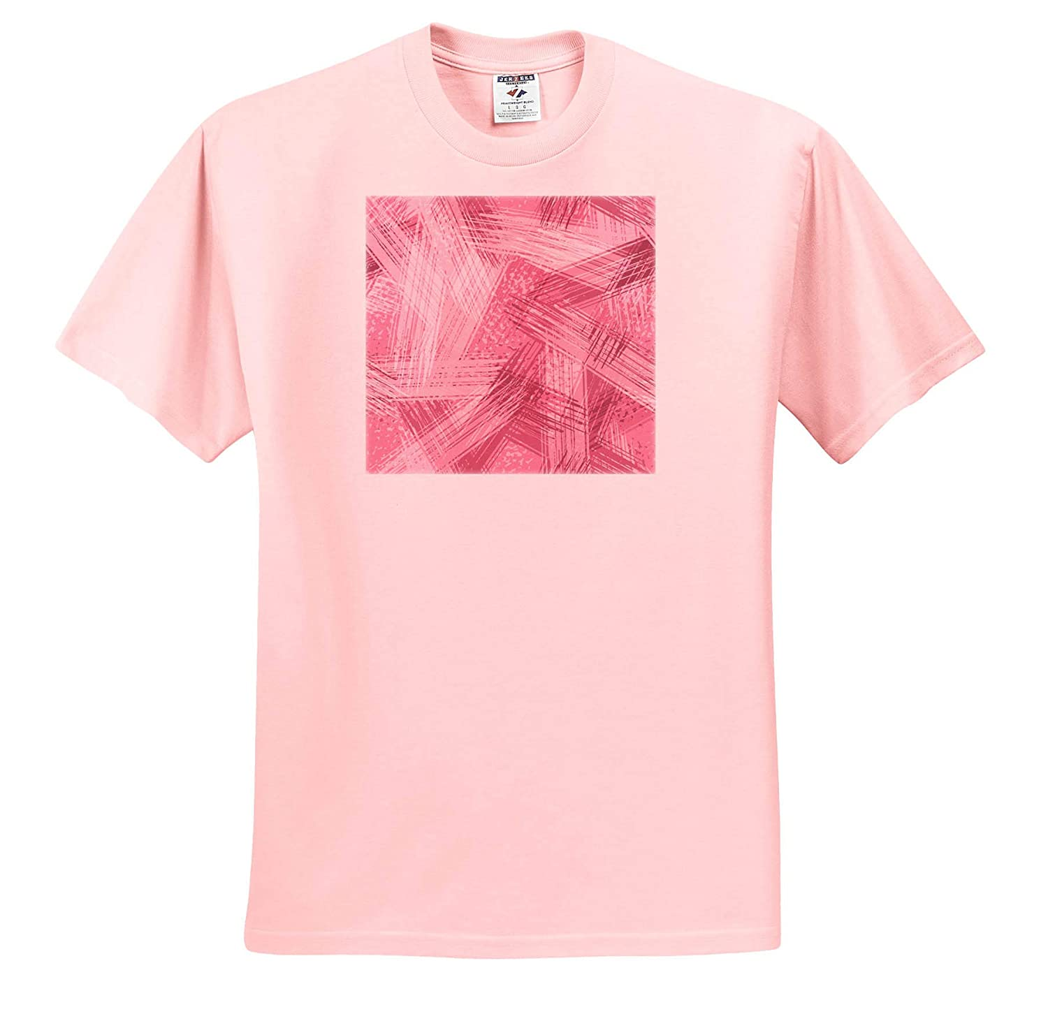 ts/_317664 3dRose Anne Marie Baugh Contemporary Pink On Pink Image of Paint Brush Strokes Patterns Adult T-Shirt XL