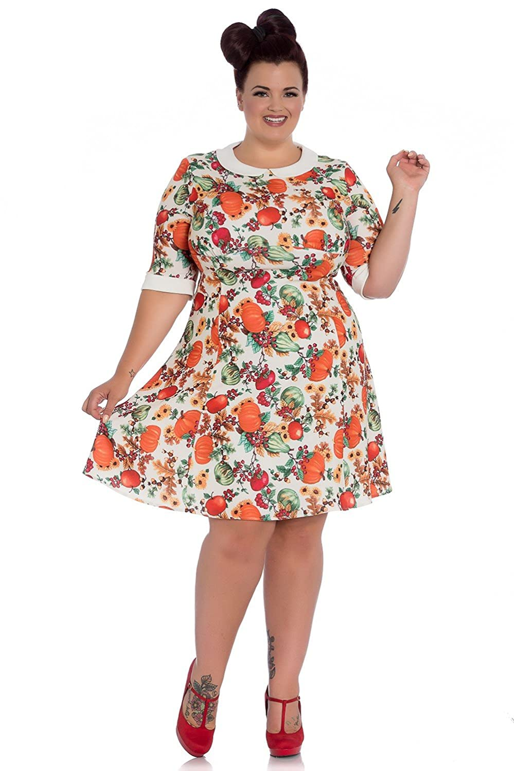 Plus Size Vintage Dresses, Plus Size Retro Dresses Hell Bunny 60s Retro Autumn Pumpkin Berries Mini Dress $59.99 AT vintagedancer.com