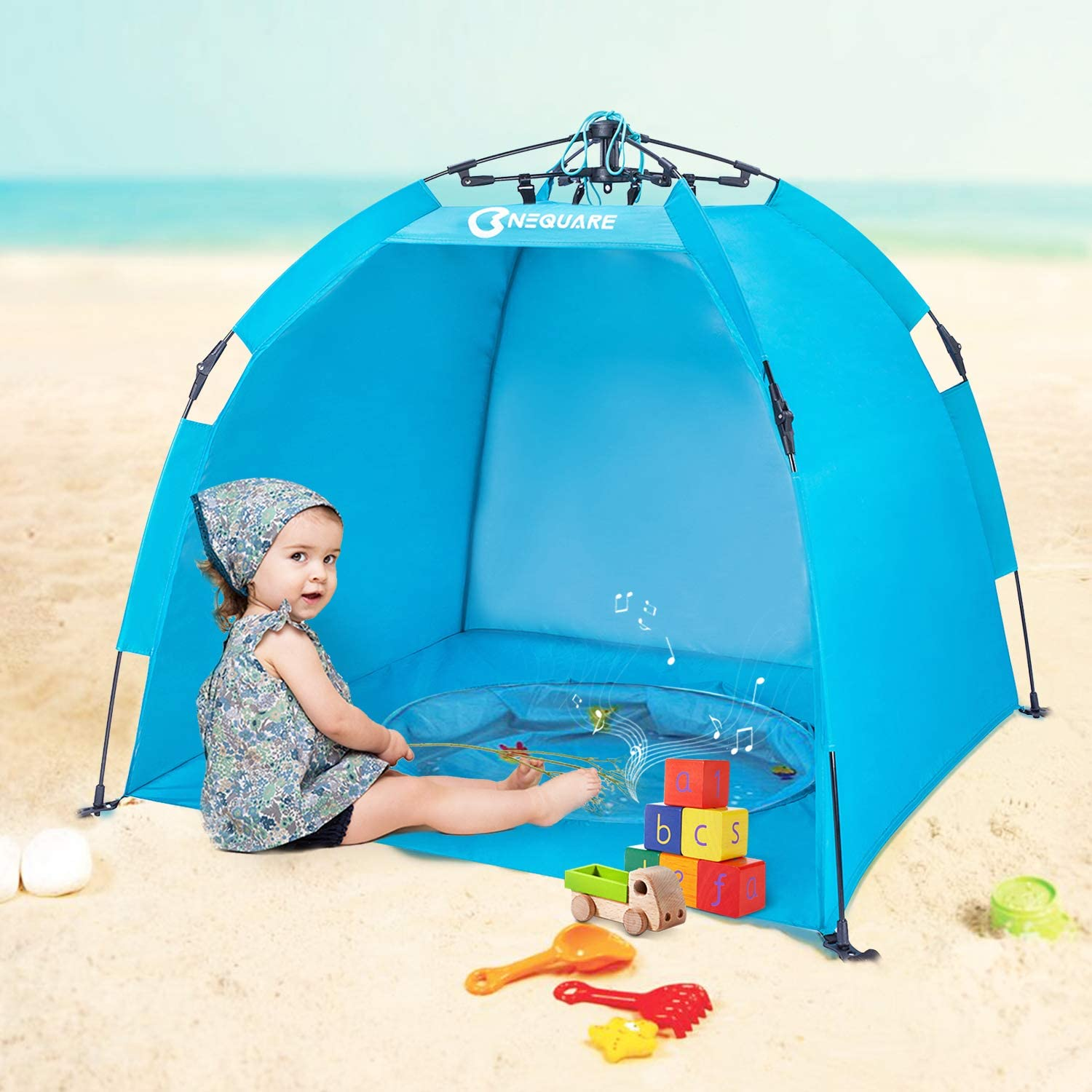 NEQUARE Baby Beach Tent, Automatic Instant Baby Tent and Portable Beach Tent Umbrella Outdoor Sun Shelter with Carrying Bag, 4 Pegs, Anti-UV 50 Protect Child from The Sun, Waterproof Windproof, Blue