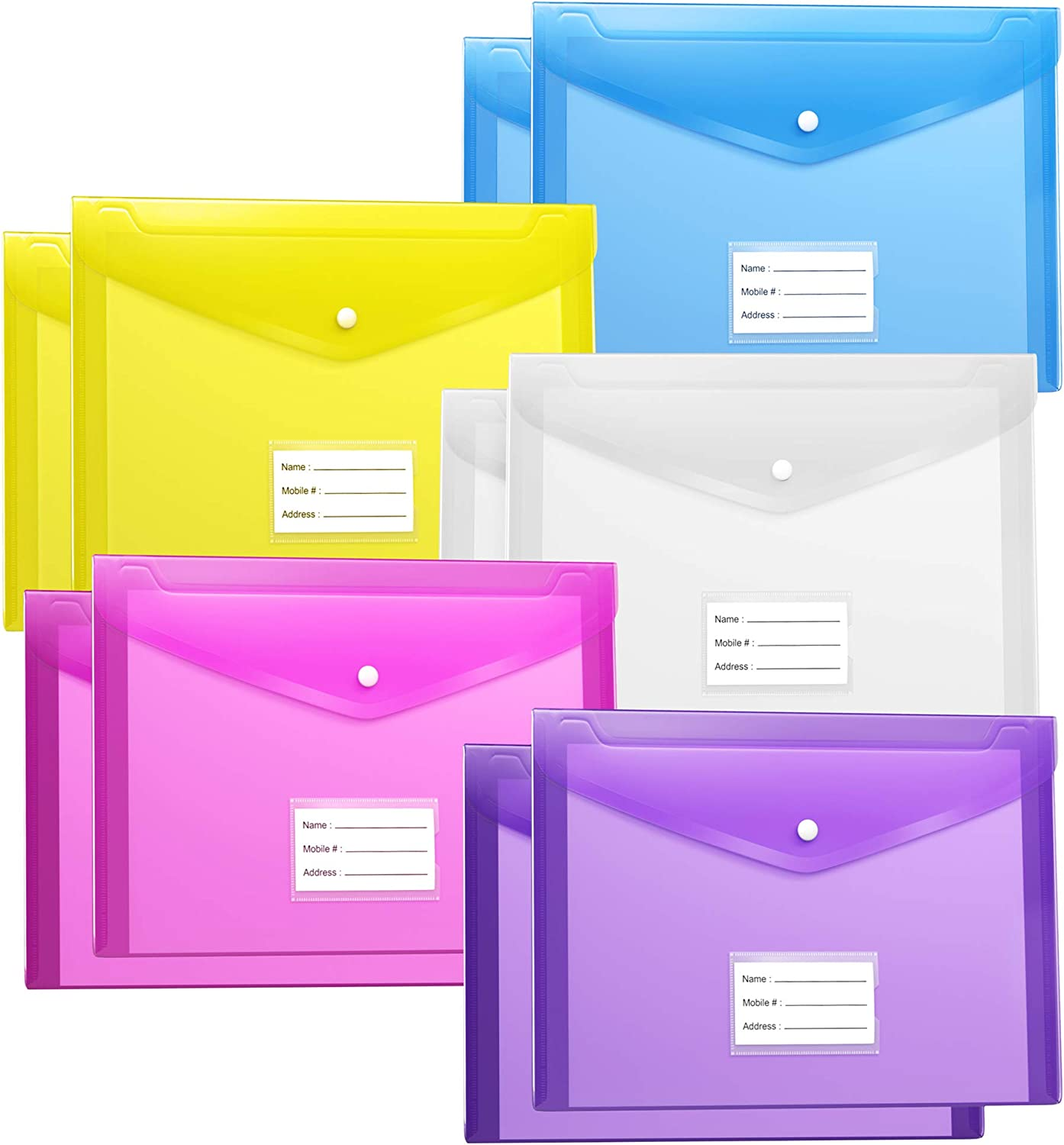 Fabnuts Plastic Pocket folders with snap Closure 10 Pack US Letter A4 Size Clear Poly File Envelopes with Label Pocket for School/Home/Office - Assorted Colors