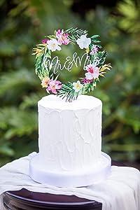 Tropical Wedding Cake Topper Floral Wreath Mr & Mrs Colorful Wooden Cake Decoration Wedding Decor Beach Destination Wedding