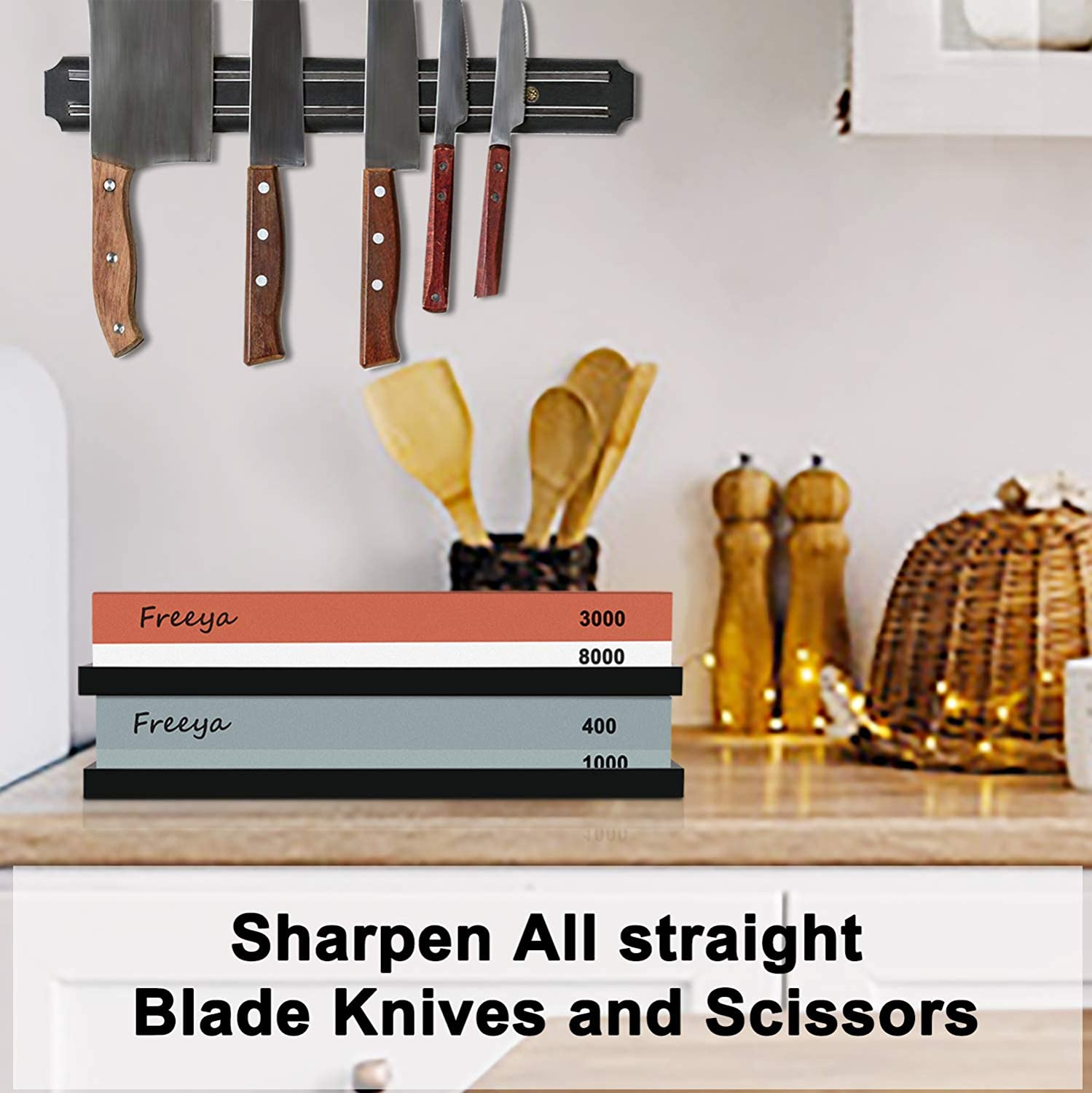 Complete Knife Sharpening Stone Set with Flattening Stone: Premium 400/1000 Grit Water Stone, 3000/8000 Grit Water Stone, Best Whetstone Knife Sharpener, Flattening Stone,NonSlip Silicone Holder,Towel: Kitchen & Dining