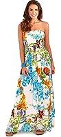 Pistachio Tropical Or Floral Print Long Dresses Womens Bandeau Maxi