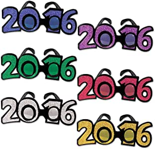 """Amazon.com: Club Pack of 12 Multi-Colored """"2016"""" New Years ..."""