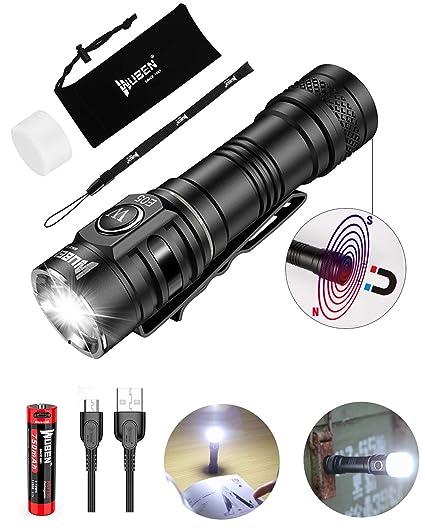 LED Taschenlampe mit Magnetfuß WUBEN E05 Superhelle 900 Lumen CREE XPL LED Wasserdichte IP68 Taktische Mini AA Taschenlampen