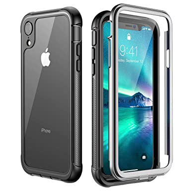 huge selection of a4279 08990 iPhone XR Case,Built-in Screen Protector Cover 360 Degree Protection Rugged  Clear Bumper Case for iPhone XR 2018 Release (6.1 inch) (Black/Clear)