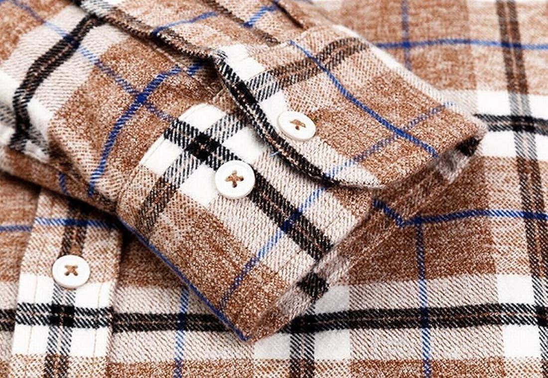 UUYUK Men Winter Plaid Long Sleeve Slim Fit Button Down Shirt