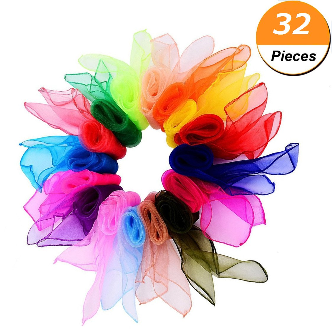 ALIKSO Dance Scarves 32pcs Rhythm Scarves Square Dance Scarf Juggling Scarf Magic Scarves for Kids 24 by 24 Inches 16 Colors (32pcs 16 Colors)