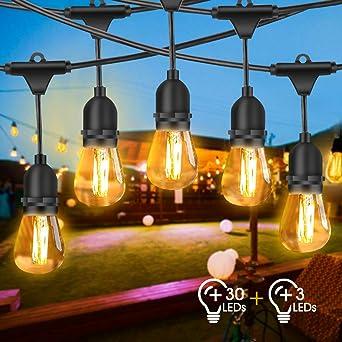 Guirnalda Luces Exterior, FOCHEA 2 * 15M Luces de Cadena con 30 LED Bombillas & E27 Base IP65 Impermeable para Jardín Patio Fiesta: Amazon.es: Iluminación