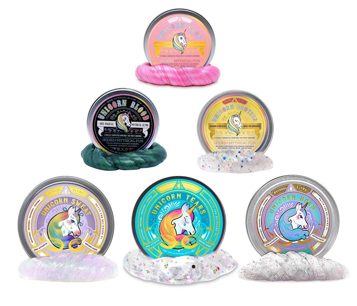 Mythical Slyme's Magical Unicorn Slime and Putty Set - Clear, Glittery, Colorful Slimes in 6 Mixed Tins for Birthdays, Parties and Special Celebrations - Lavender Scented by Unicorn Tears