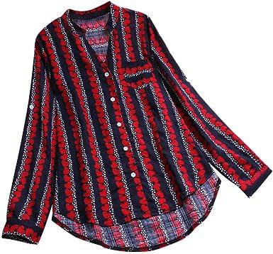 TUDUZ Blusa Mujer Manga Larga Camisa Algodón y Lino Top Estampado De Rayas Camiseta Tallas Grandes M-5XL: Amazon.es: Ropa y accesorios