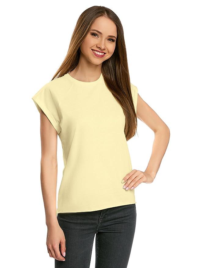 oodji Ultra Mujer Camiseta Básica Holgada con Borde Inferior No Elaborado: Amazon.es: Ropa y accesorios