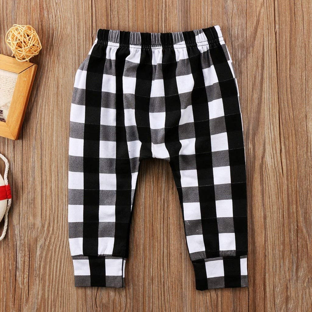 Baby Kids Boys Fashion Plaid Printed Long Pants with Zipper Pocket Trousers squarex 1-6 Years Baby Pants Kids Christmas Valentines Day Winter Clothes
