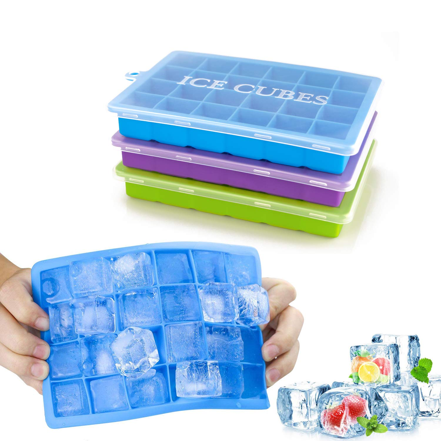 Ice Cube Trays 3 Pack, Morfone Silicone Ice Tray with Removable Lid Easy-Release Flexible Ice Cube Molds 24 Cubes per Tray for Cocktail, Whiskey, Baby Food, Chocolate, BPA Free by Morfone