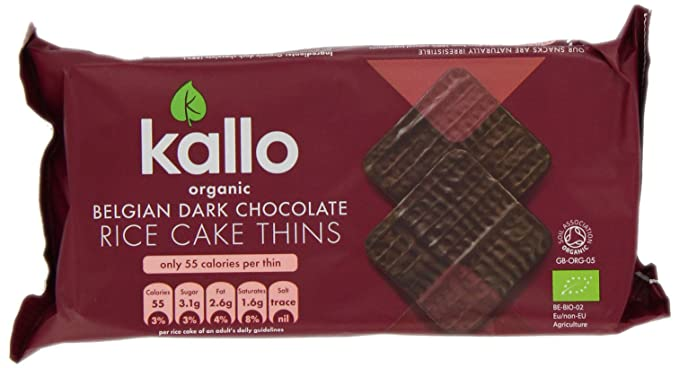 Kallo Organic Dark Chocolate Rice Cake Thins 90 g (Pack of 4)