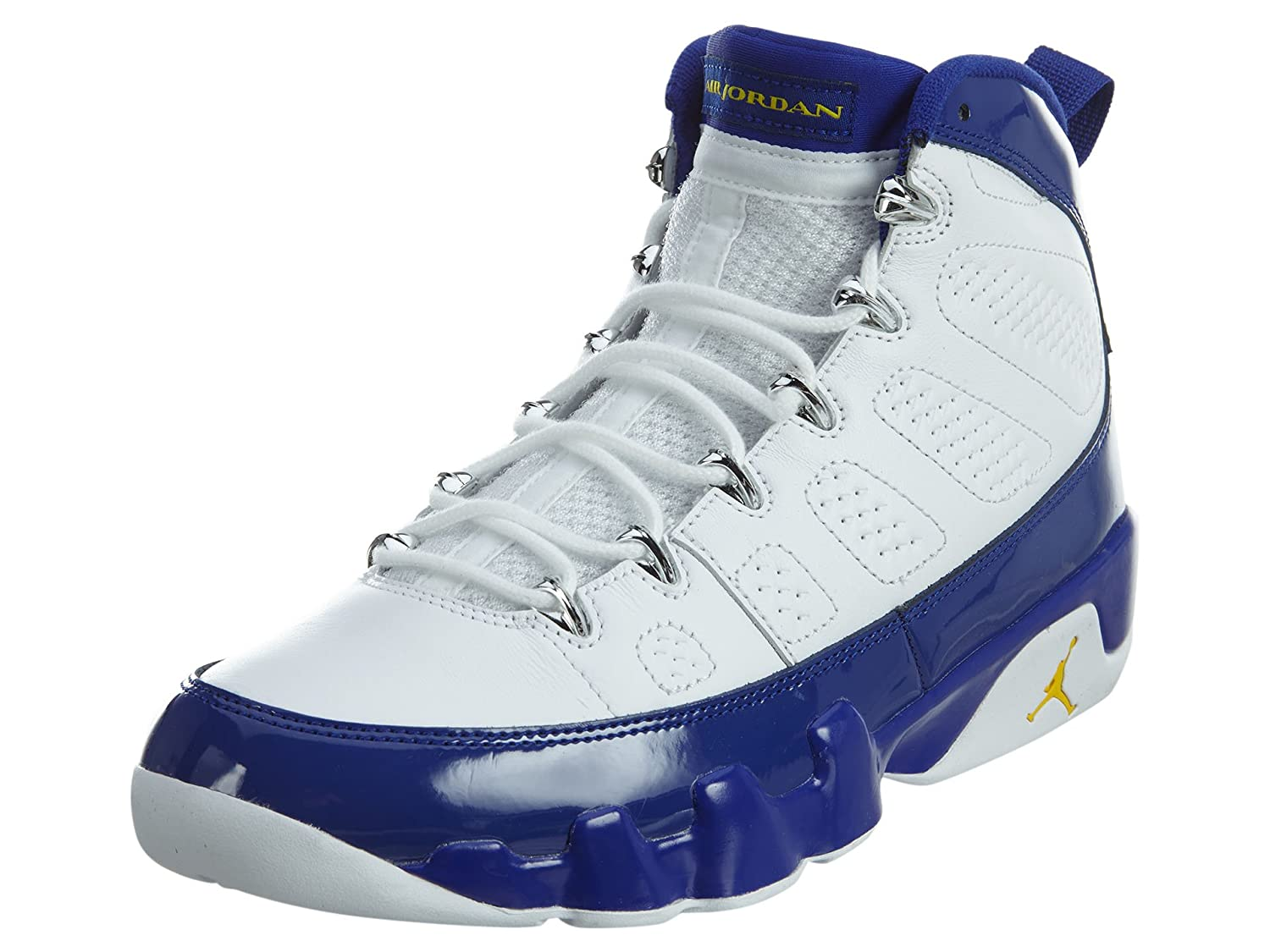 new arrival 19e61 8363e Nike Mens Air Jordan 9 Retro White/Tour Yellow-Concord Leather Size 8