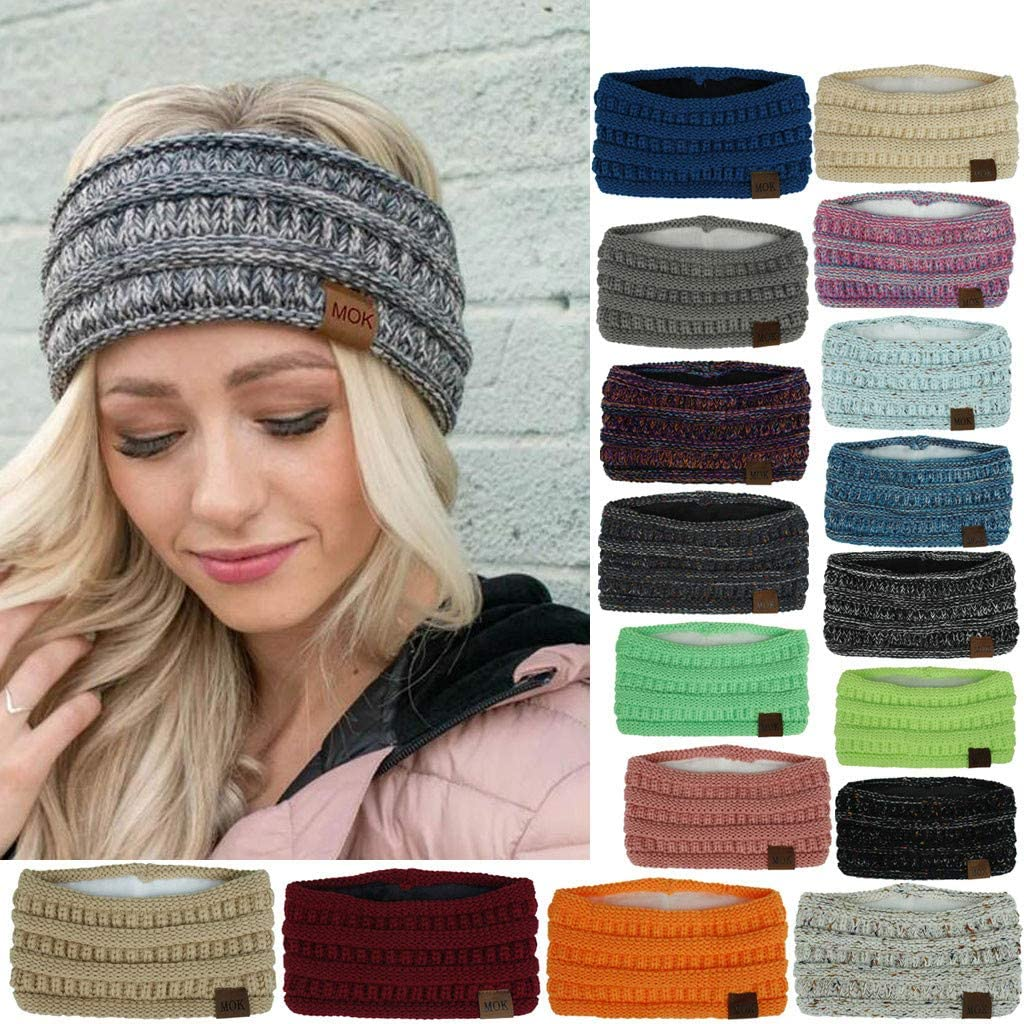 Foodshop Women Knitted Headbands, Thick Head Wraps WAS £24.95 NOW £4.99 w/code QHS6FSR4 @ Amazon