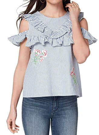 584f8b5fc33 XOXO Women's Juniors' Cotton Cold-Shoulder Floral-Embroidery Stripes Top at Amazon  Women's Clothing store: