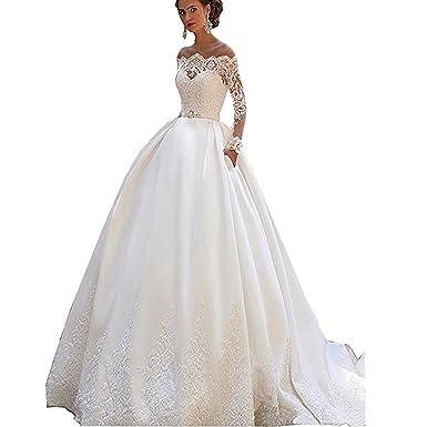 Tianshikeer Spitze Langarm Satin Lang Brautkleider Hochzeitskleider